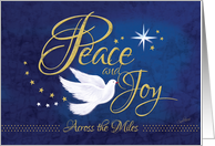 Peace and Joy, Across the Miles - Christmas Peace Dove on Blue card