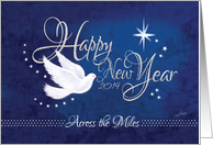 New Year, Across the Miles, 2017 - White Peace Dove On Navy Blue card