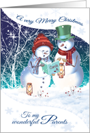 Christmas, for Parents. Carol Singing Snowman & woman card