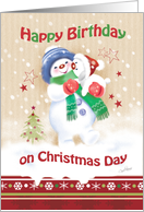 Birthday, Christmas Day, Blue - Snow Child carrying Snow Puppy card