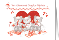 1st Valentine's Day, Triplets-3 Cute Teddies sit in front of Big Heart card