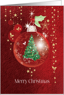 Merry Christmas, Red Decorative Bauble with Tree inside card