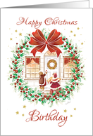 Christmas Birthday. Holly Wreath, House & Children with Gifts card