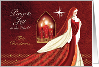 Christmas, Madonna & Child, with Candles, Peace & Joy card