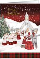Happy Holidays, Christmas Vintage Style Choir Boys Caroling, card