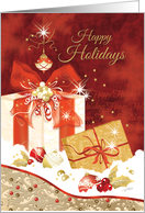 Happy Holidays, Stylish, Presents, Ornaments and Heart card