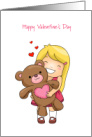 Beary Happy Valentine's Day/Girl with Bear/Hearts card