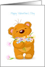 Beary Happy Valentine's Day/Bear/Flowers card