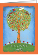 Cheerful School's Out Party Invitation–brightly painted tree card