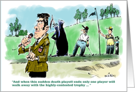 Humorous golf outing announcement cartoon card