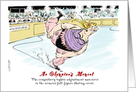 Humorous thanks to ice skating coach cartoon card