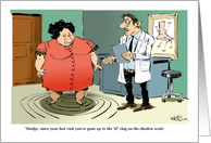 Weight loss announcement and the shadow scale cartoon card