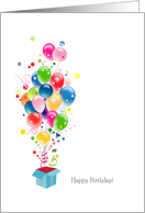Birthday Cards, Colorful Balloons Bursting Out Of Magical Gift Box card