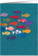Brightly Colored School of Fish for Birthday card