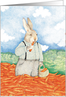 Rabbits with Pile of Carrots Birthday card