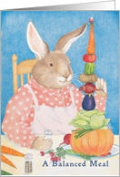 Rabbit Eating a Balanced Meal Card