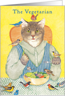 Vegetarian Cat Dining with Birds Birthday Card