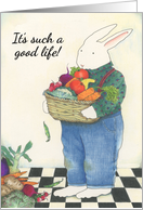 Rabbit With Fruits of the Garden Birthday Card