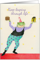 Leaping Frog Wishes Happy Birthday card