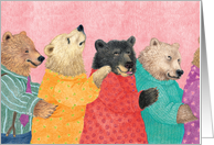 Four Bears in a Conga Line Birthday From All Card