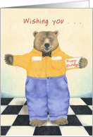 Brown Bear inn Jeans and Checked Shirt wishes Happy Birthday card