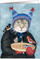Hat Cat with wild birds Christmas Holiday Card