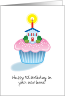 Happy 1st Birthday New House Cupcake Candle Celebrate Blank Inside card