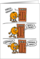 Knock Knock Orange Anniversary card