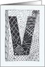 Letter V initial/monogram tangle-style black/white colouring doodle card