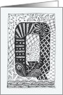 Letter Q initial/monogram tangle-style doodle black/white colouring card