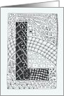 Letter L initial/monogram tangle-style black/white colouring #2 card