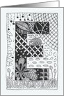 Letter E initial/monogram tangle-style black/white colouring #3 card
