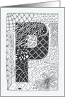 Letter P initial/monogram tangle-style black/white colouring #2 card