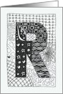 Letter R initial/monogram tangle-style black/white colouring #2 card