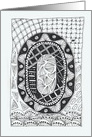 Letter O initial/monogram tangle-style black/white colouring #2 card