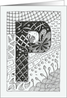 Letter P initial/monogram, zentangle-style black/white colouring card