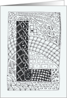 Letter L initial/monogram zentangle-style black/white colouring #2 card
