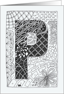 Letter P initial/monogram zentangle-style black/white colouring #2 card