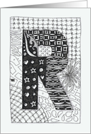 Letter R initial/monogram zentangle-style black/white colouring #2 card