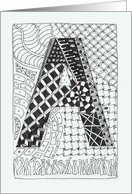 Letter A initial/monogram zentangle-style black/white colouring #2 card