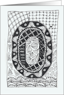 Letter O initial/monogram zentangle-style black/white colouring #2 card
