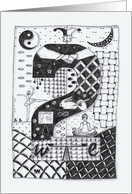 Number Two (2) black/white colouring zentangle numerology friendship card