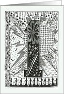 Number One (1) black/white colouring zentangle Age specific banner card