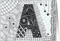Letter A initial/monogram landscape black/white colouring zentangle card