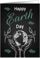 Earth Day Retro Chalkboard with Hands Holding Earth and Leaves card