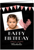 Photo Chalkboard with Heart Personalized Birthday Card