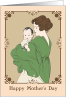 Retro Mother and Child Graphic with Ornate Frame card
