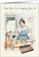 Watercolor of Mom Preparing Cookies with Cat and Dog Helping card