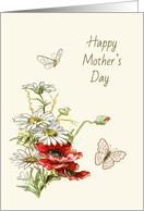 Retro Painting of Flowers and Butterflies for MotherÂ's Day card