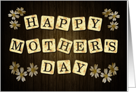 Retro Letters with Floral Pattern and Wood Background for Mother's Day card